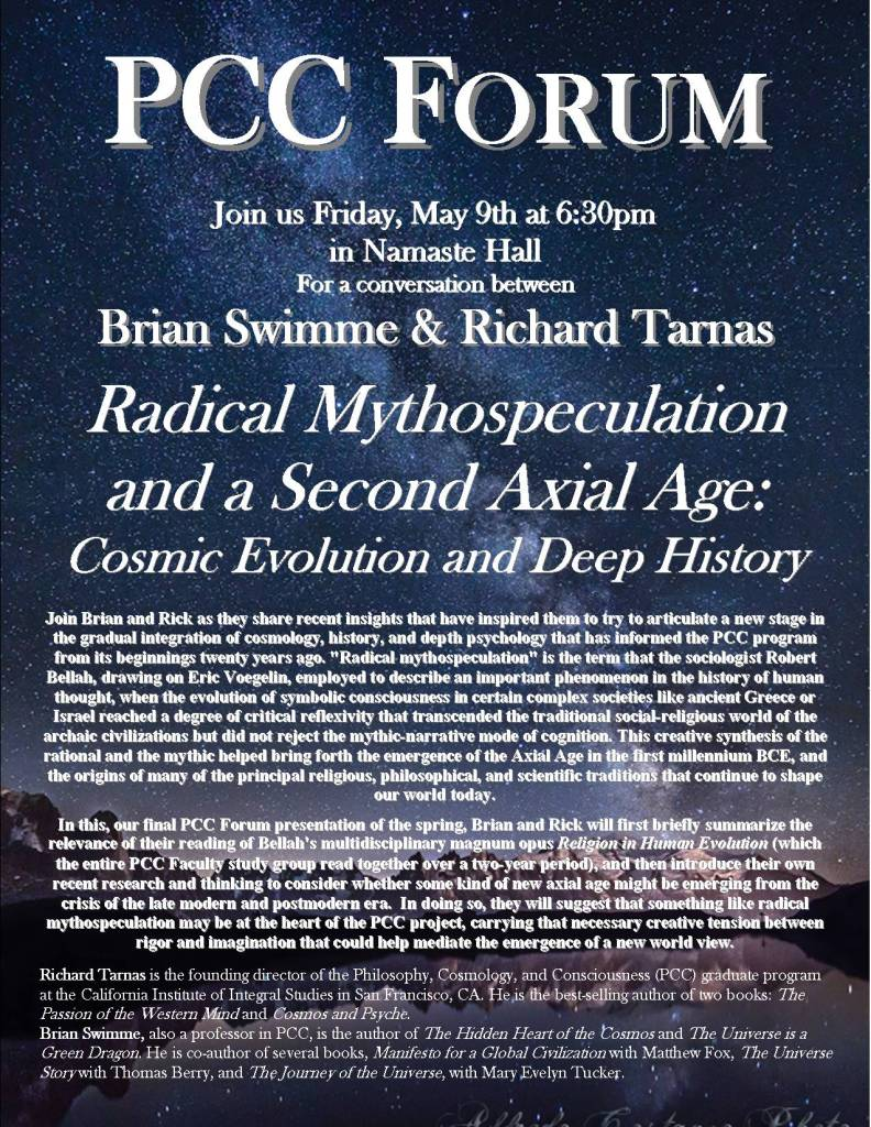 PCC Forum Flyer swimme and tarnas