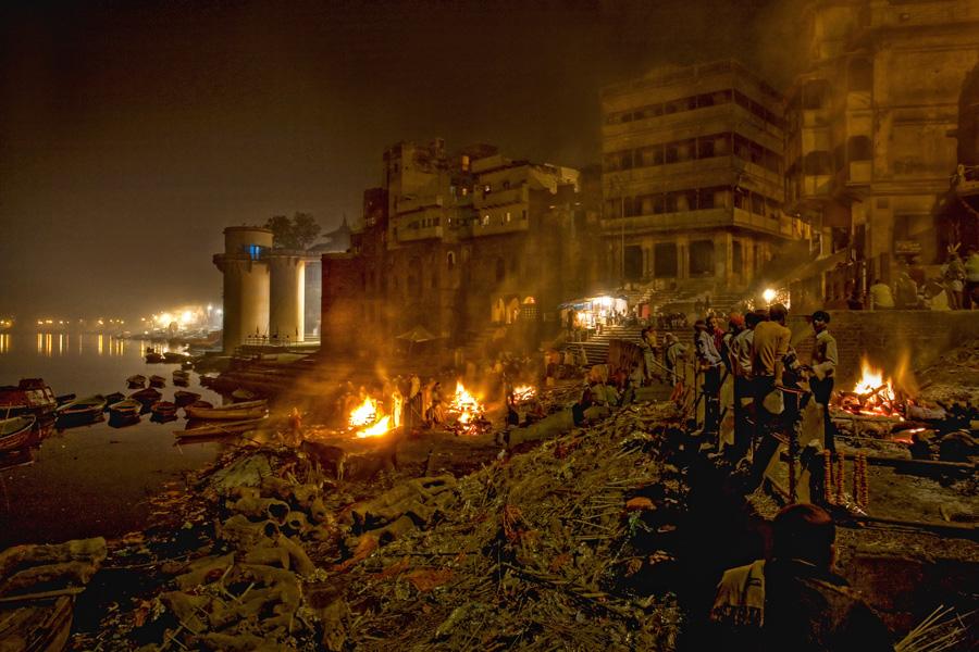 funeral pyres in Varanasi, India